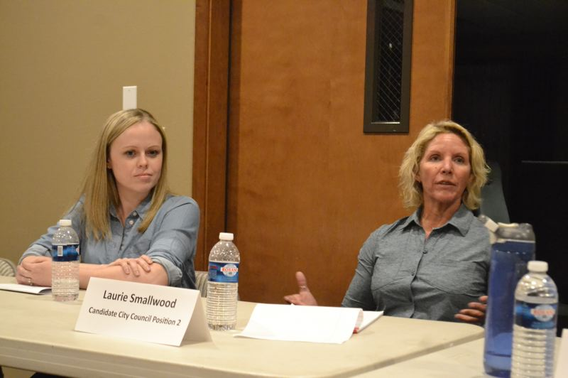 FILE PHOTO - Bethany Shultz and Laurie Smallwood ran to replace Councilor Scott Horsfall in Sandy City Council position 2.