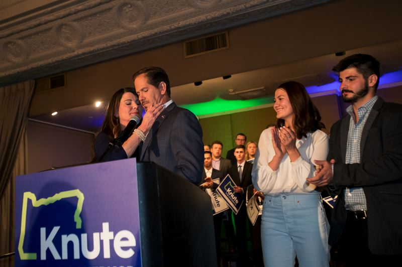 PAMPLIN MEDIA GROUP: JAIME VALDEZ - State Rep. Knute Buehler told supporters that the state's status quo should not continue. Buehler lost his race to challenge Gov. Kate Brown.