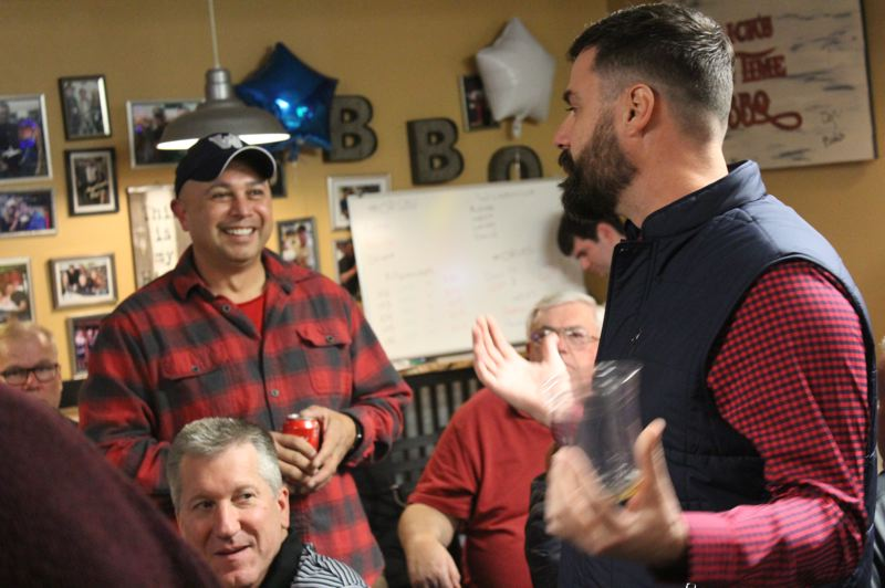 SPOKESMAN PHOTO: COREY BUCHANAN - John Budiao (left) and Ben West (right) were neck and neck based on early election results Tuesday night.