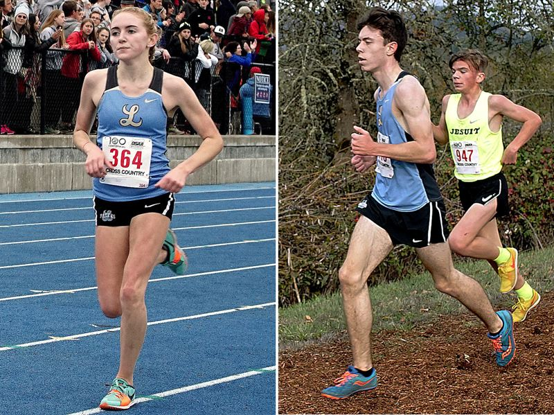 REVIEW PHOTOS: KIT MCAVOY - Lakeridge's Holly Lane (left) and Evan Wheeler compete at the Class 6A state cross country meet at Lane Community College in Eugene on Saturday.