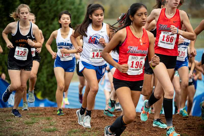 LON AUSTIN - MHS cross country runner Vanessa Culps runs in the middle of the 4A state race.