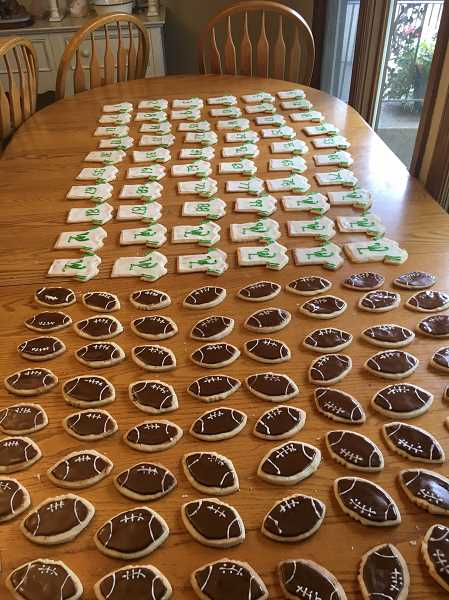 SUBMITTED PHOTO  - Violet Gowdy cooked 120 sugar cookies for one of West Linn High School's varsity football dinners.