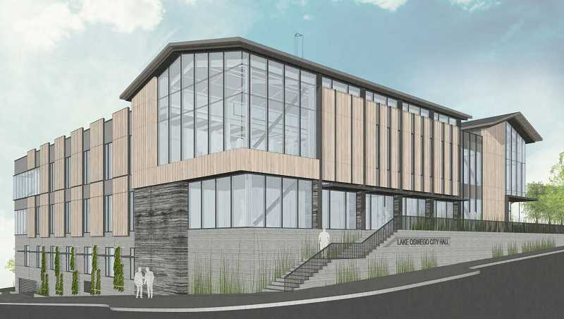 PHOTO COURTESY OF THE CITY OF LAKE OSWEGO - An artist's rendering of the new Lake Oswego City Hall shows the buidling from its northeast corner at Third Street and A Avenue.