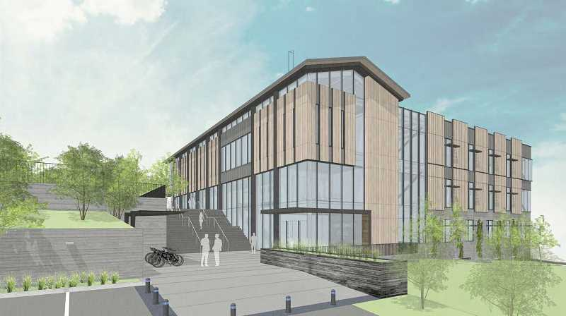 PHOTO COURTESY OF THE CITY OF LAKE OSWEGO - A ground-level rendering shows the new City Hall as viewed from the southwest corner at Fourth Street and Evergreen Road.