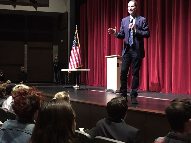 PAMPLIN MEDIA GROUP: PETER WONG - U.S. Sen. Ron Wyden, D-Ore., speaks Thursday, Nov. 8, to a group of students at Franklin High School in Portland. He spoke the day after a mass shooting claimed 12 lives at a bar in Thousand Oaks, Calif.
