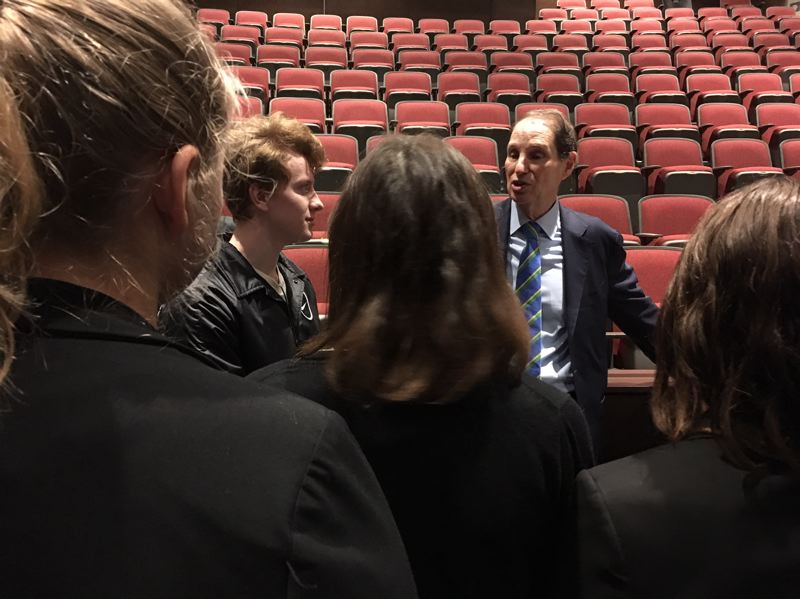 PAMPLIN MEDIA GROUP: PETER WONG - U.S. Sen. Ron Wyden, D-Ore., meets with students after a talk Thursday, Nov. 8, at Franklin High School in Portland.