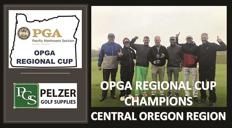 SUBMITTED PHOTO  - Members of the Central Oregon team won the inaugural Oregon Chapter PGA Regional Cup Match Play event at Bandon Dunes on Wednesday, Oct. 31. Team members include Zach Lampert, Meadow Lakes GC, Jared Lambert, Meadow Lakes GC, Travis Moore, Broken Top, Nate Kitt, Broken Top, Tim Fraley, Awbrey Glen GC, Erik Mettille, Sunriver, Crosswater.