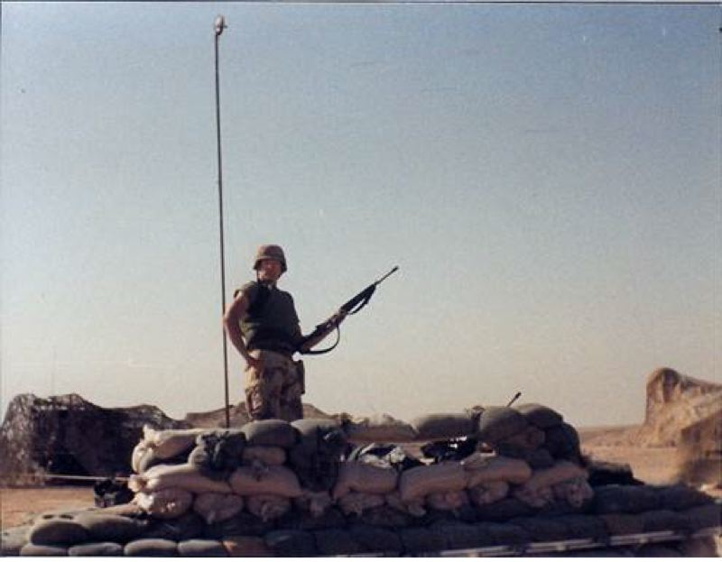 SUBMITTED PHOTO - Jeffrey Collins of St. Helens, photographed in a remote desert area in Saudi Arabia during deployment with the U.S. Army during the Gulf War.