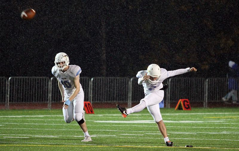 PAMPLIN MEDIA GROUP PHOTO: MILES VANCE - Lakeridge senior kicker Maxwell Chandler and the Pacers are hoping to kick off another victory when they visit West Linn in the second round of the Class 6A state playoffs on Friday.