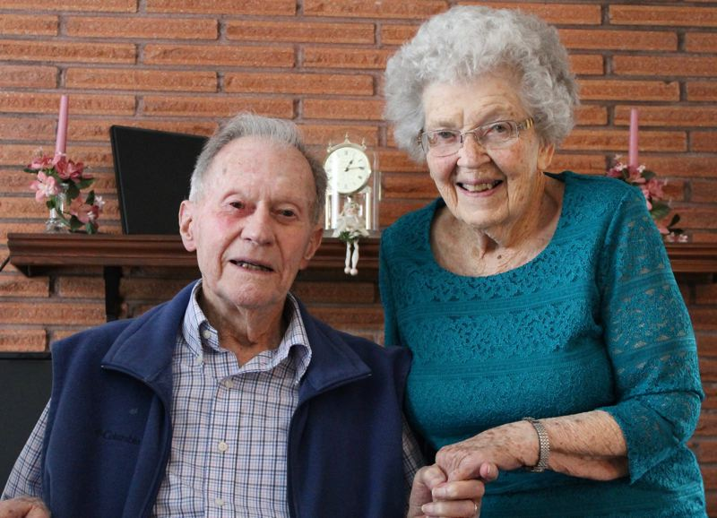 OUTLOOK PHOTO: ANNE ENDICOTT - East Multnomah County residents Ray and Betty Whipps served in the U.S. Army during World War II. The couple met in a military tent hospital in Cherbourg, France, in 1944, after Ray was wounded in combat.