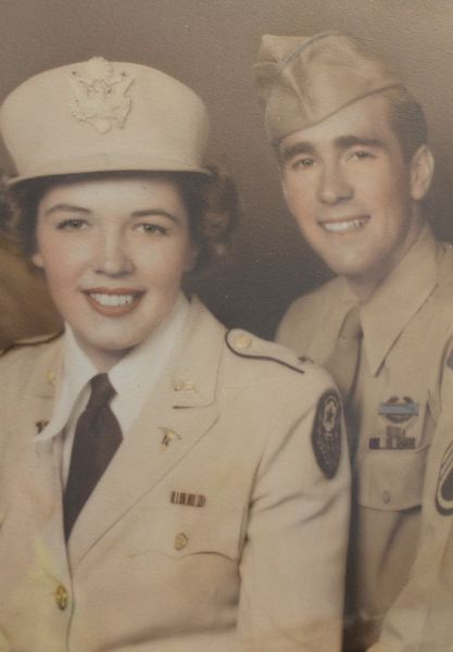 CONTRIBUTED PHOTO - Tech Sgt. Ray Whipps and Lt. Betty Carter, on their Sept. 29, 1945, wedding day in New Orleans.