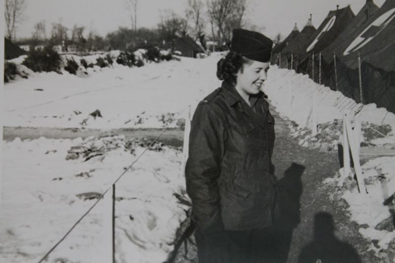 CONTRIBUTED PHOTO - Lt. Betty Carter outside the U.S. Armys 167th hospital in Cherbourg, France, where she tended to the sick and wounded from 1944-1945.