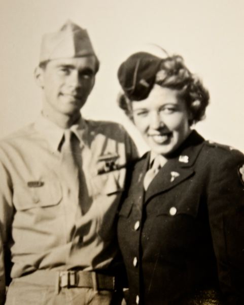 CONTRIBUTED PHOTO - A rare photo of Ray and Betty in 1944. The pair kept their budding romance a secret because she was an officer and he was an enlisted soldier.