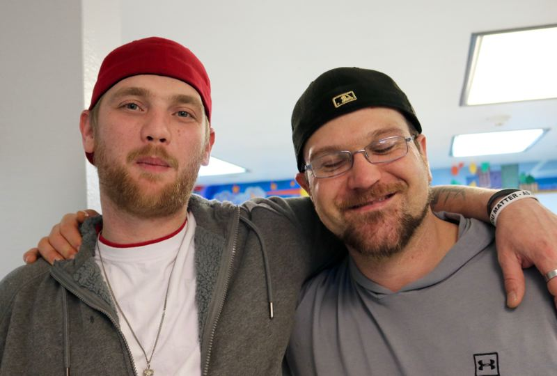 TRIBUNE PHOTO: ZANE SPARLING - FROM LEFT: Jaymes Latimer and Andy Dial have been staying at the Men's Residential Center in Portland for about 10 weeks.