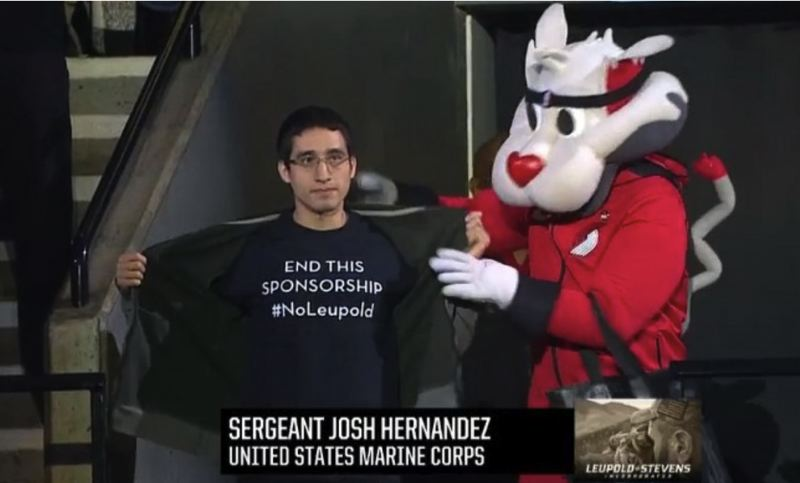 "COURTESY DSA - Marine Corps veteran Sgt. Josuee ""Josh"" Hernandez protests the sponorship by Leupold & Stevens during a Hometown Heroes segment on Tuesday, Nov. 6."