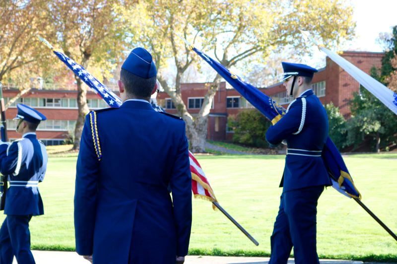 TRIBUNE PHOTO: ZANE SPARLING - The Final Changing of the Guard was ceremoniously performed on Veterans Day on Sunday, Nov. 11 at the University of Portland.