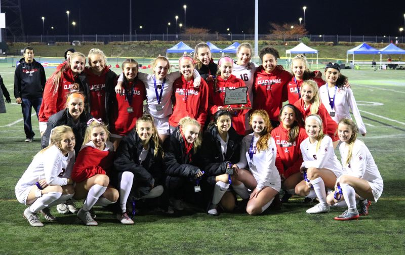 PAMPLIN MEDIA: JIM BESEDA - The No. 3 Clackamas Cavaliers finished second with a 15-3-1 record after falling to top-ranked Jesuit in Saturday night's OSAA Class 6A girls' soccer championship final at Hillsboro Stadium.