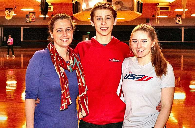 DAVID F. ASHTON - With their coach Amy Hamblin, international roller skating competitors David Hamblin and Annie MacKay pause in their practice for a BEE photo.