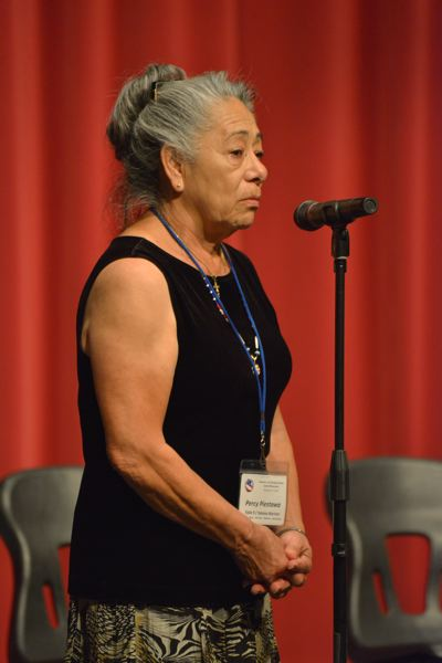 PHOTO BY: COBY EDWARDS - Percy Piestawa of the Yakama Warriors speaks at the Nov. 8 assembly at Oregon City High School.