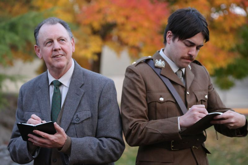PHOTO BY DAVID BLISS - Kevin Yell, left, and Dustin Fuentes portray famous British World War I poets Siegfried Sassoon and Wilfred Owen respectively in the play 'Not About Heroes.'