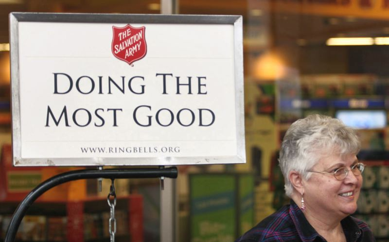 FILE PHOTO - The Salvation Army's bell-ringers are an enduring tradition of the holiday season. But church leaders in Washington County are concerned about having enough of a workforce to raise money for giving this winter.