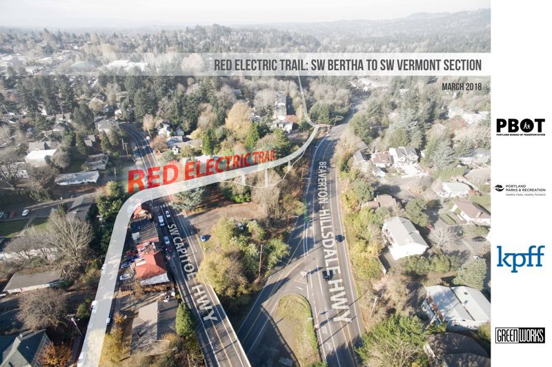 COURTESY: PORTLAND BUREAU OF TRANSPORTATION - When completed the Red Electric Trail bridge will allow pedstrians and bicyclists to travel safely between Southwest Bertha Boulevard and Southwest Capitol Highway in the Hillsdale area.