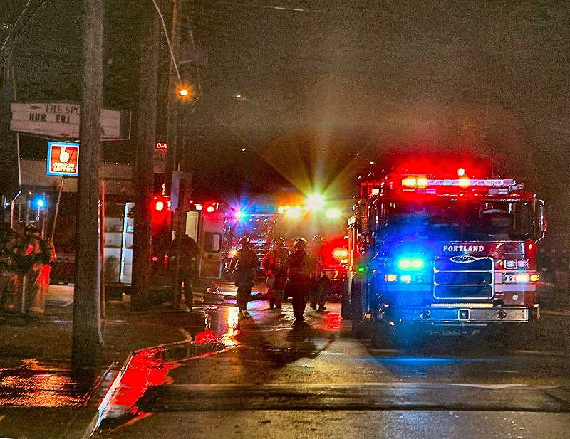 DAVID F. ASHTON - A nighttime commercial fire in the Mt. Scott-Arleta neighborhood brought many fire crews to the scene.