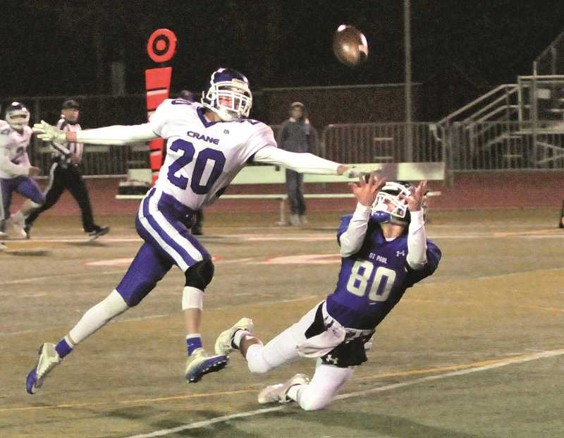 GARY ALLEN - St. Paul senior Jaidyn Jackson comes down with an acrobatic catch in the Buckaroos' 66-18 victory in the 1A quarterfinals over the Crane Mustangs. Jackson led the Bucks with a season-high 189 yards and three touchdowns on six receptions in the victory.