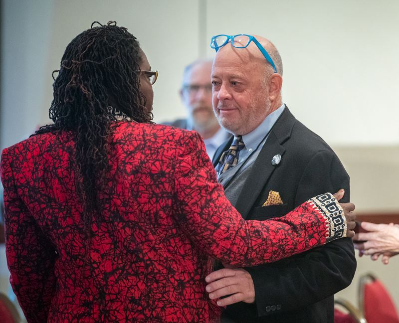 PORTLAND TRIBUNE: JONATHAN HOUSE - Jim McElroy of the Southern Poverty Law Center chats with Nkenge Harmon Johnson at the Mulugeta Seraw Commemoration Conference.