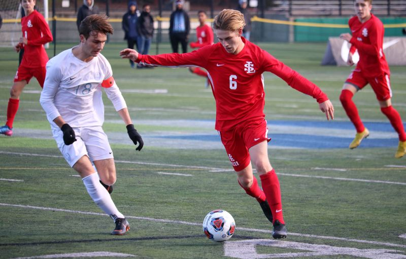 PAMPLIN MEDIA: JIM BESEDA - La Salle Prep junior midfielder Karter Cook was named the Player of the Game for the Falcons in Saturday's OSAA Class 5A boys' soccer championship final against Corvallis at Hillsboro Stadium.
