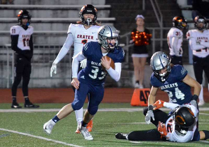 SPOKESMAN PHOTO: TANNER RUSS - Senior Kevin Burke had two interceptions in the rematch with Crater.