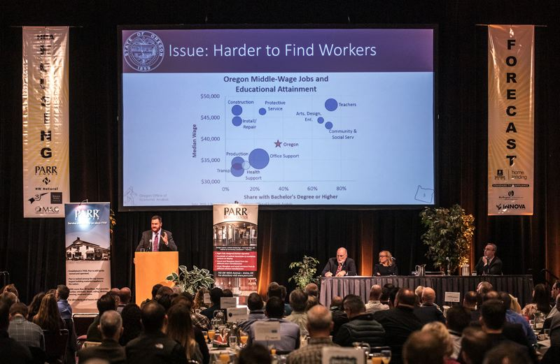 PORTLAND TRIBUNE: JONATHAN HOUSE - Josh Lehner, an economist with the Oregon Office of Economic Analysis, was among the presenters at the 2019 HBA Housing Forecast Breakfast at the Oregon Convention Center.