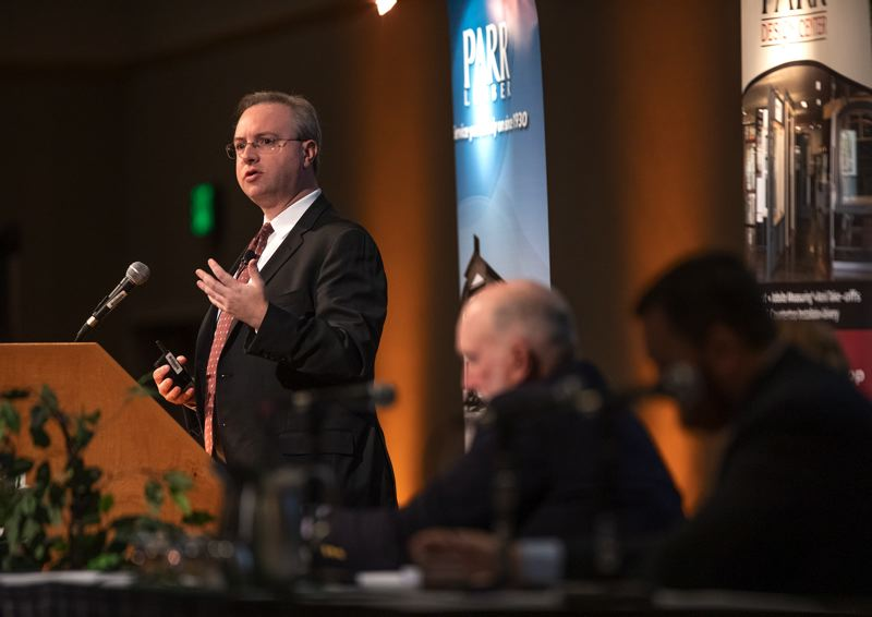 PORTLAND TRIBUNE: JONATHAN HOUSE - Robert Dietz, top left, chief economist for the National Association of Home Builders, and Josh Lehner, top right, an economist with the the Oregon Office of Economic Analysis, were featured speakers at the 2019 HBA Housing Forecast Breakfast. The annual event was held Nov. 2 at the Oregon Convention Center.