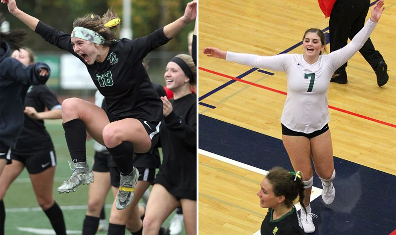 TIDINGS FILE PHOTOS - West Linn just completely an amazingly successful fall season, incuding a semifinal appearance by Rae Peters (left) and the Lions girls soccer team, and a third-place finish by Ellie Snook and the West Linn volleyball team.