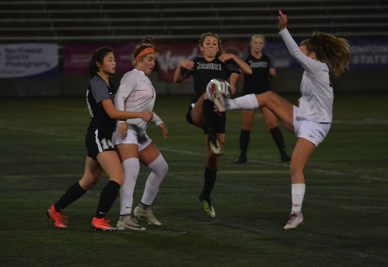 TIMES PHOTO: MATT SINGLEDECKER - The  Jesuit girls soccer team trampled Clackamas 8-0 in the Class 6A state championship game on Saturday.