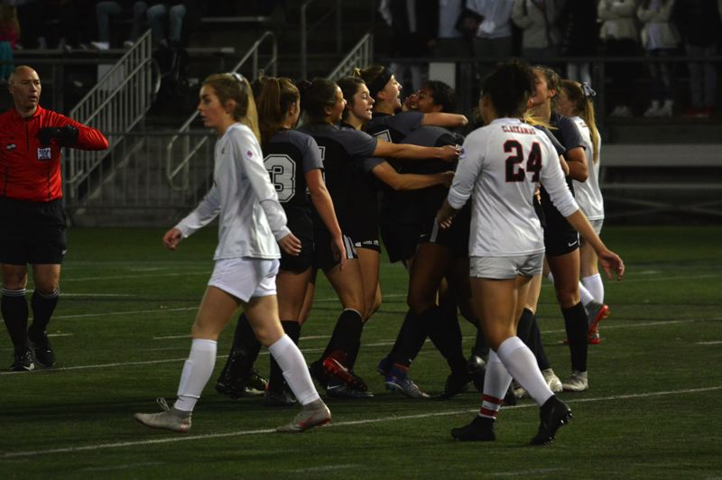 TIMES PHOTO: MATT SINGLEDECKER - Jesuit junior Jaiden McClellan scored three goals as the Crusaders crushed Clackamas 8-0 in the Class 6A state championship game on Saturday.