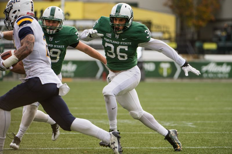 COURTESY: PORTLAND STATE UNIVERSITY - Portland State senior linebacker Sam Bodine (right) chases down a ball carrier.