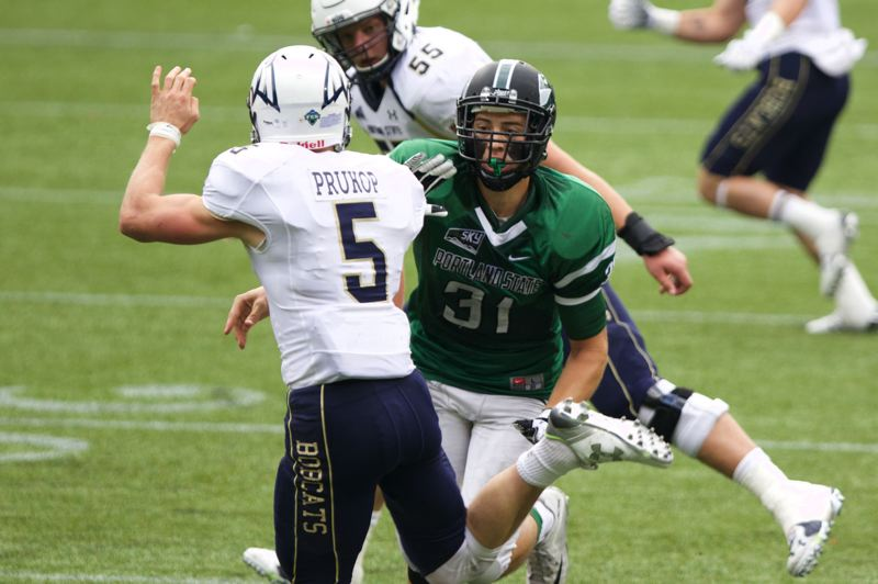 COURTESY: PORTLAND STATE UNIVERSITY - AJ Schlatter (31) puts heat on Montana State quarterback Dakota Prukop during a 2015 Portland State game.