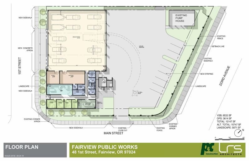 COURTESY GRAPHIC: CITY OF FAIRVIEW - This site plan illustrates the floor plan for the new Fairview Public Works building, including pull-through bays in the shop, a feature that will help alleviate traffic congestion on First Street, which the shop shares with Fairview Elementary School.