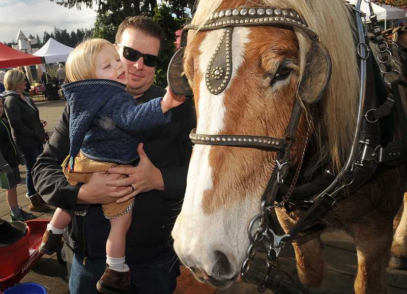 REVIEW FILE PHOTO: VERN UYETAKE - Horse-drawn wagon rides will return to downtown Lake Oswego on Saturday during the Reunion Farmers Market.