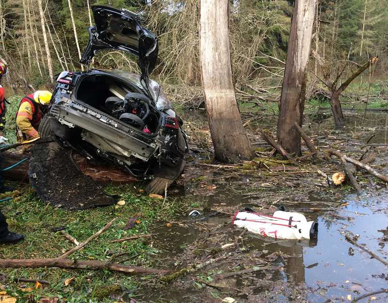 A 44-year-old man was injured when his car slid across the road and into a pond along S. Dryland Road on Nov. 9.