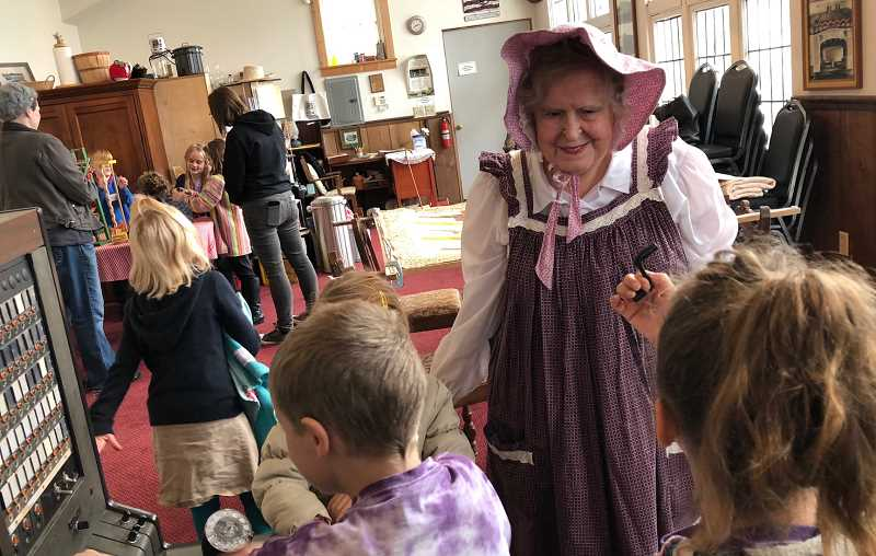 COURTESY PHOTO: MAHS - A group of first- and second-graders from Molalla River Academy visit Molalla Area Historical Society.