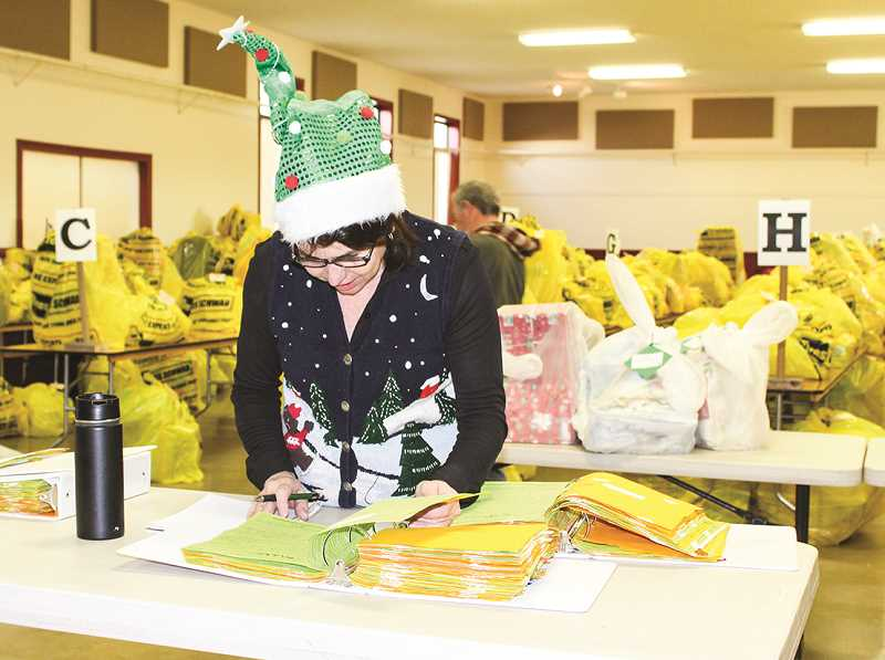 CENTRAL OREGONIAN - Volunteer Beth Jay helps keep Distribution Day organized during the 2017 Holiday Partnership. Last year, the partnership distributed nearly 900 food boxes and wrapped and gave away more than 7,500 gifts for local families facing financial struggles during the holiday season.