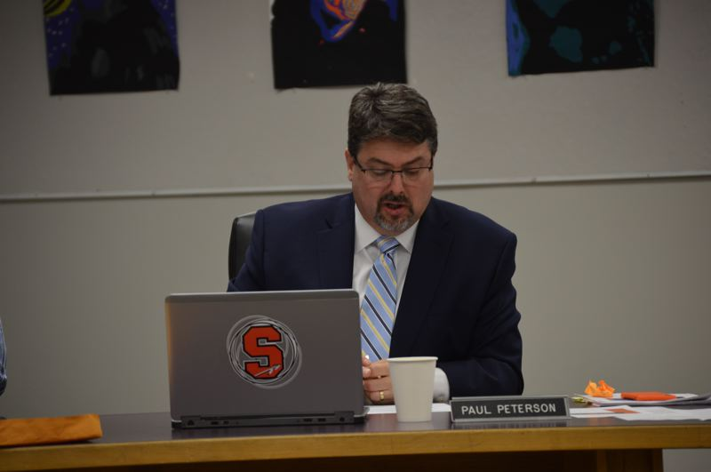 SPOTLIGHT PHOTO: NICOLE THILL-PACHECO - Scappoose School District Interim Superintendent Paul Peterson, speaks during a school board meeting on Tuesday, Nov. 13. Some parents in the school district are concerned about a perceived lack of communication from the school board and its plans to hire a permanent superintendent for the 2018-19 school year.