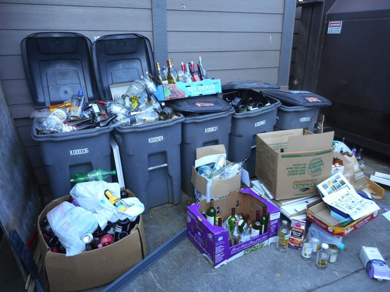 COURTESY: METRO  - One of the areas where Oregon can step up its recycling is at big apartment complexes, which, as this illustrates, often aren't set up well for recycling.