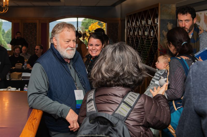 STAFF PHOTO: CHRISTOPHER OERTELL - Montinore Estate proprietor Rudy Marchesi greets attendees for a biodynamic winemaking workshop at Montinore Estate on Thursday, Nov. 15.