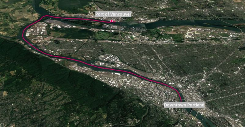COURTESY FROG FERRY - A map shows the proposed route of the Frog Ferry linking dowtown Portland with Vancouver, Washington.