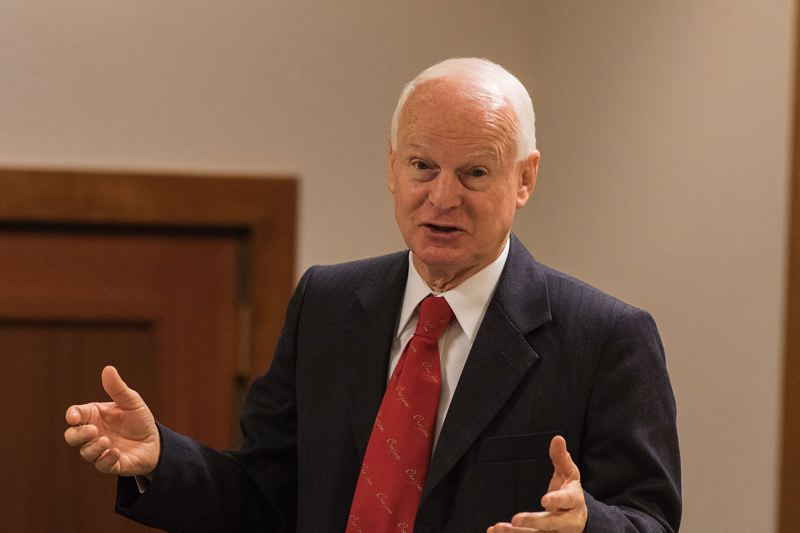PAMPLIN MEDIA GROUP FILE PHOTO - Secretary of State Dennis Richardson, shown at a December 2016 event, says in a new video that he is still able to attend to his job despite undergoing treatment for brain cancer.