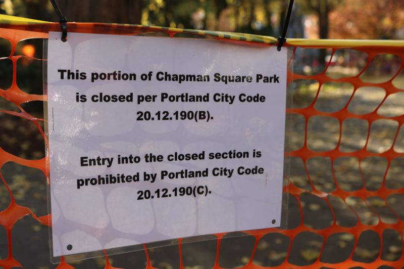 TRIBUNE PHOTO: ZANE SPARLING - This sign was displayed at Chapman Square Park on Saturday, Nov. 17 in Portland.