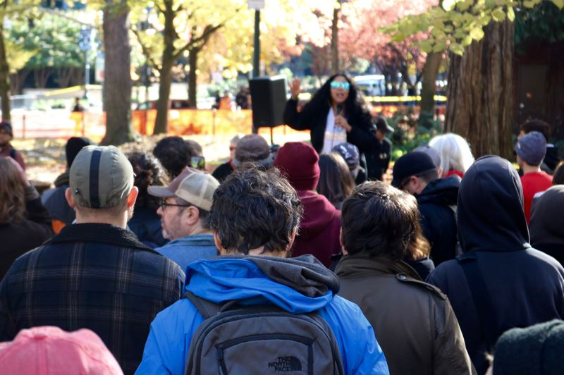 TRIBUNE PHOTO: ZANE SPARLING - Protesters gather at Chapman Park on Nov. 17.